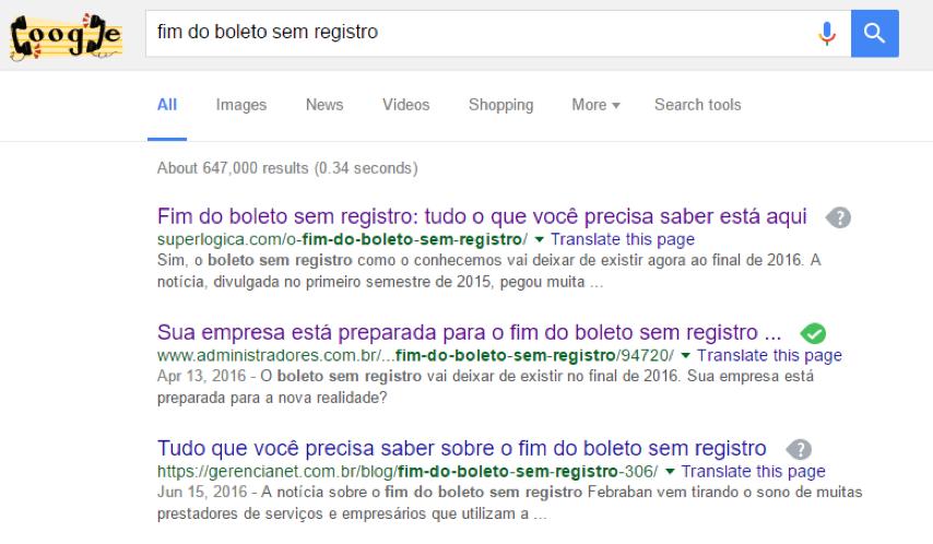 Palavra-chave estratégica na primeira posição do Google – Search / Orgânico