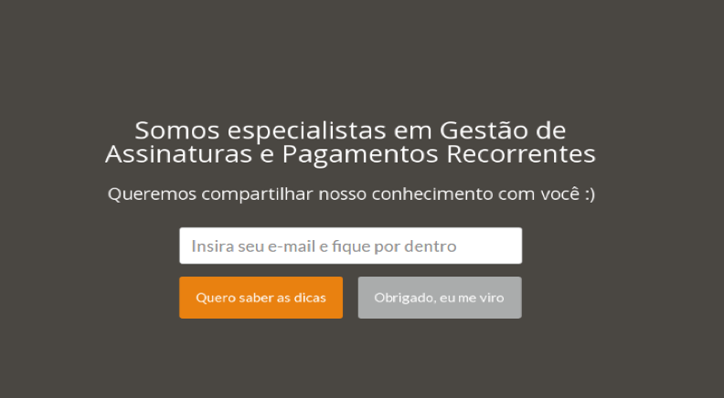 Pop up de aterrissagem / welcome mat nas Landing Pages