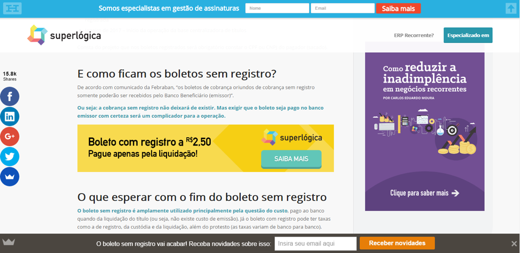 Diversos call to action (CTA's) estratégicos no blog post sobre boleto sem registro.